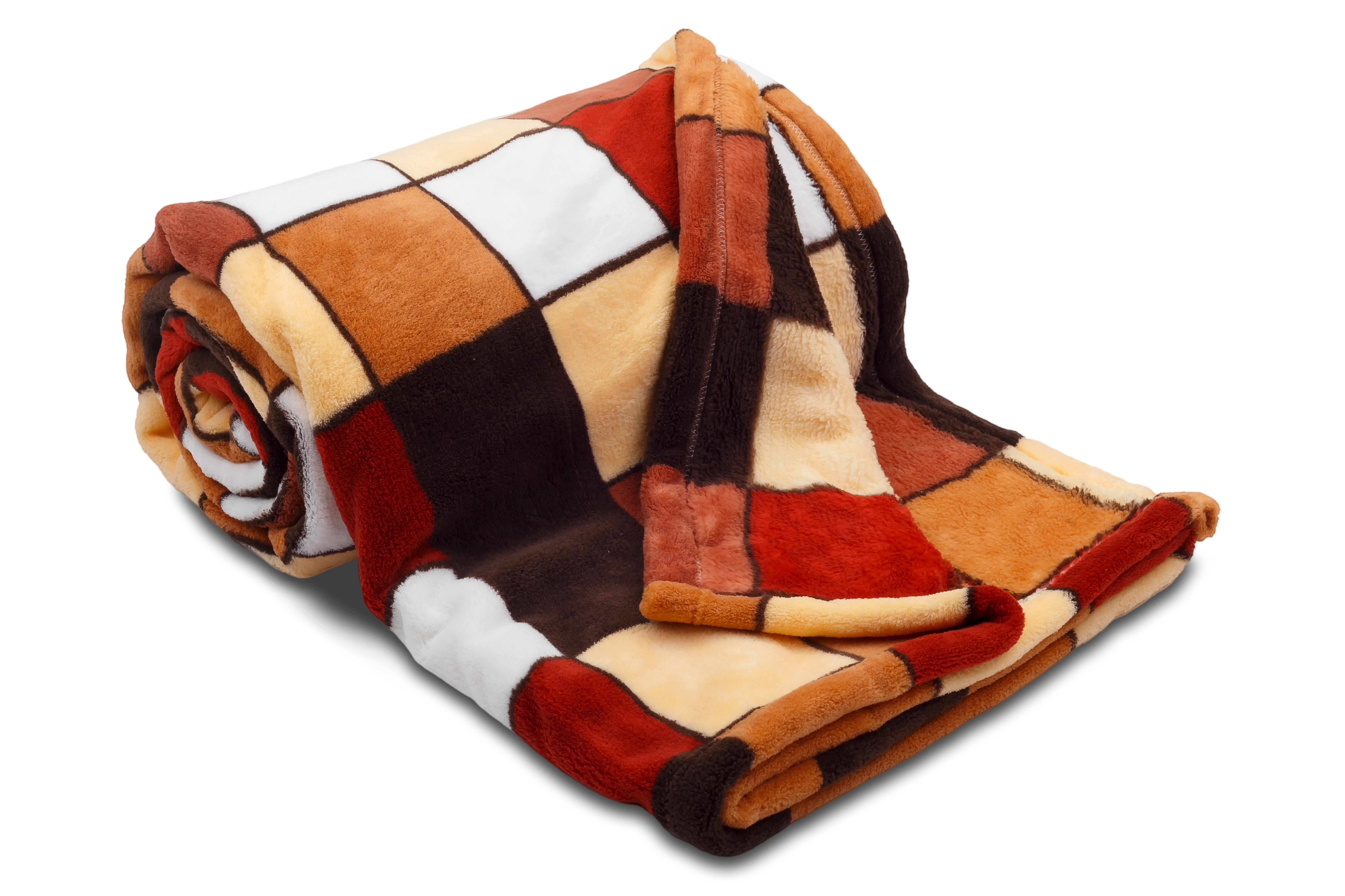Dětská deka z mikrovlákna SLEEP WELL® 75 x 100cm - KOSTKA HNĚDÁ