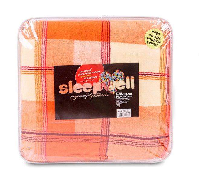 Povlečení mikrovlákno SLEEP WELL® na francouzskou postel 2x 70x90 cm +  200x240 cm – KÁRO ORANŽOVÉ