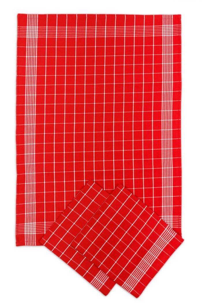 Svitap Utěrky bavlněné - Negativ červeno - bílá 50x70 cm 3ks