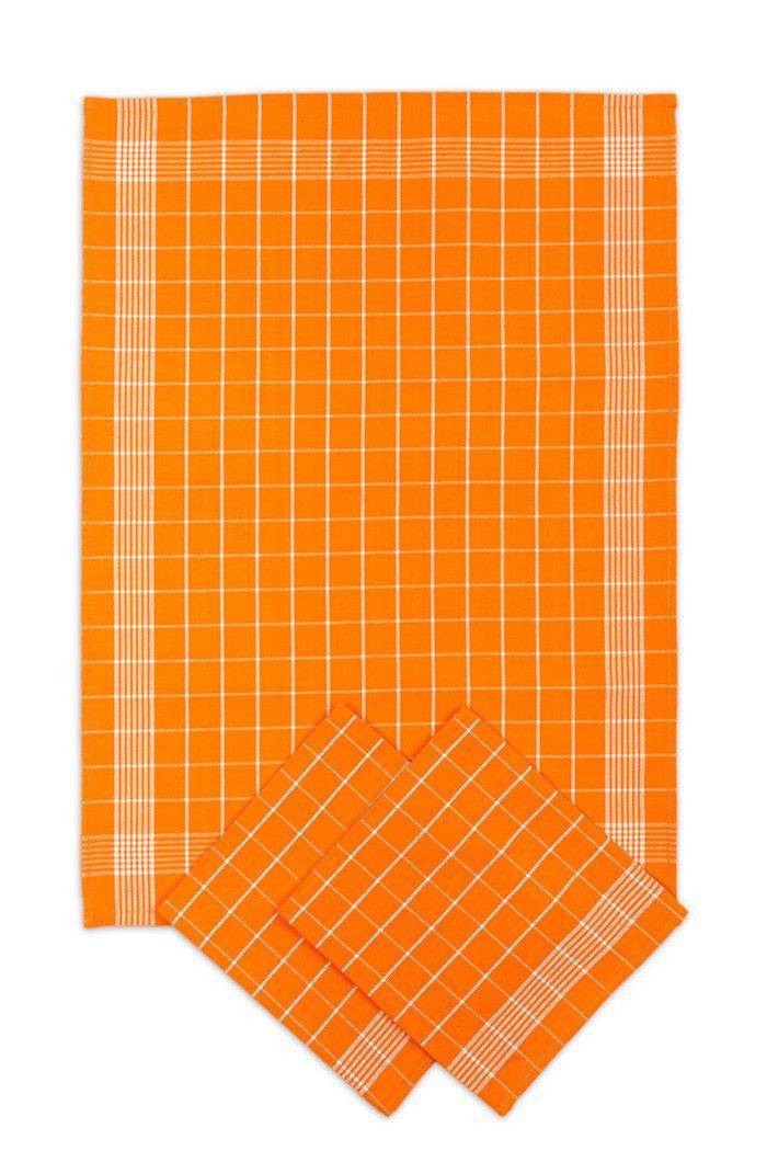 Utěrky bavlněné - Negativ oranžovo - bílá 50x70 cm 3ks