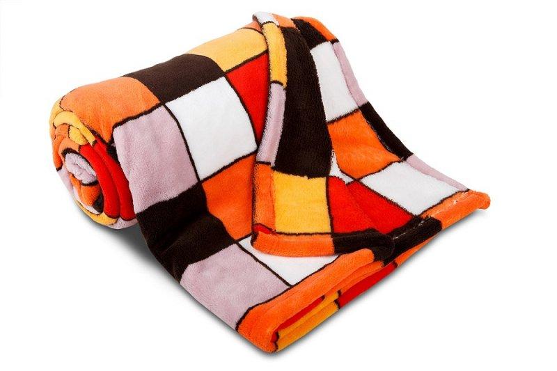 Dětská deka z mikrovlákna SLEEP WELL® 75x100cm - KOSTKA ORANŽOVÁ