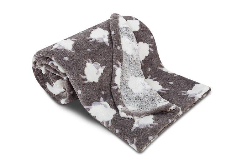 Dětská deka z mikroflanelu SLEEP WELL 75x100cm s OVEČKAMI - TMAVĚ ŠEDÁ