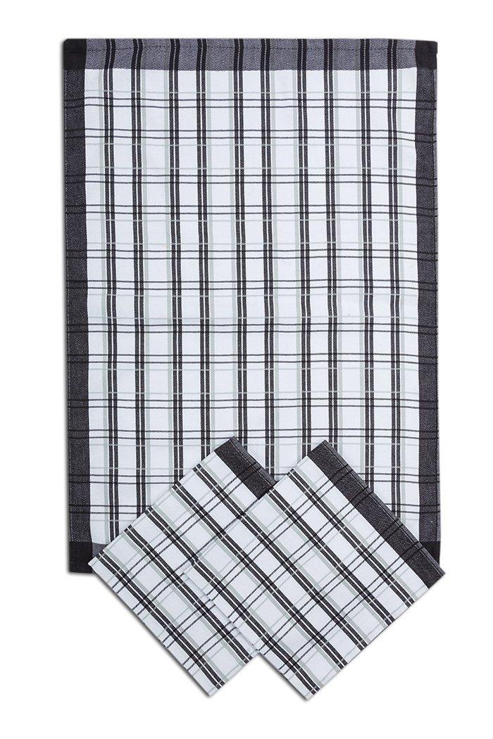 Svitap utěrky z egyptské bavlny 50x70cm 3ks TRADIČNÍ KÁRO ČERNÁ