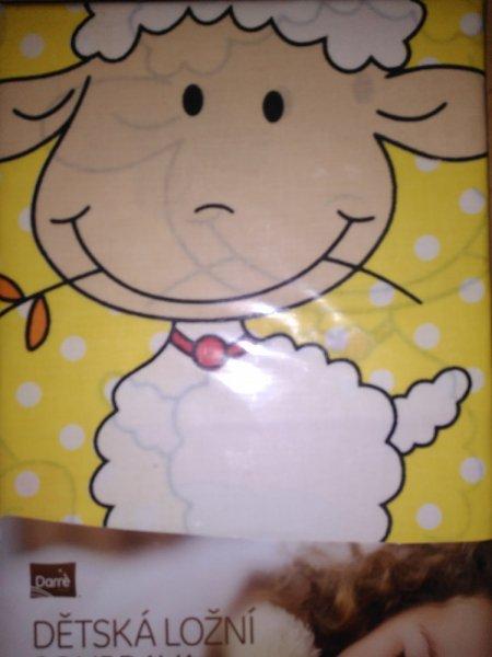 Dětská ložní souprava  45x65 cm + 95x130 cm s potiskem - OVEČKA ŽLUTÁ