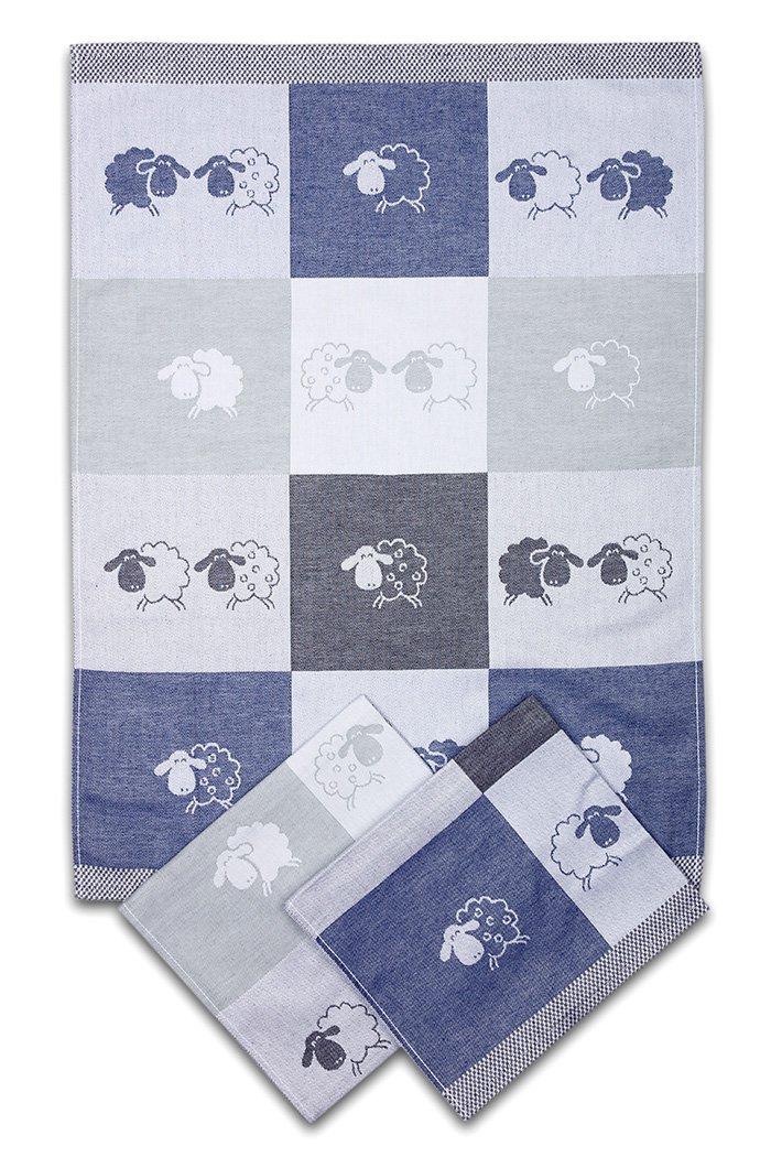 Svitap utěrky egyptská bavlna OVEČKY BAREVNÁ KOSTKA 50x70cm 3ks - MODRÁ