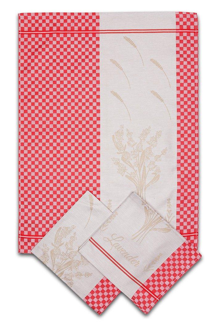 Svitap utěrky egyptská bavlna LEVANDULE KOSTKA 50x70cm 3ks - ČERVENÁ