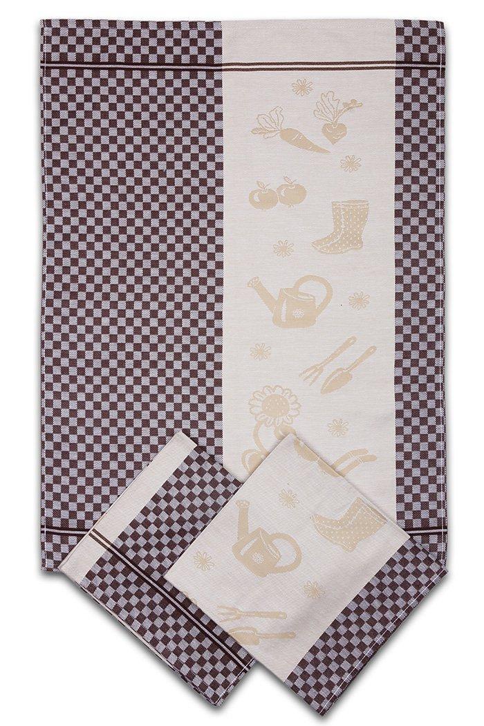 Svitap utěrky egyptská bavlna ZAHRADA KOSTKA 50x70cm 3ks - HNĚDÁ