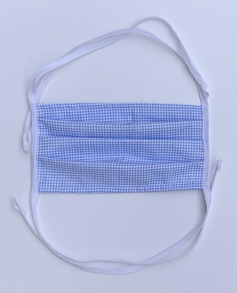 BAVLNĚNÁ ROUŠKA/ÚSTENKA - modrá s drobnou kostičkou