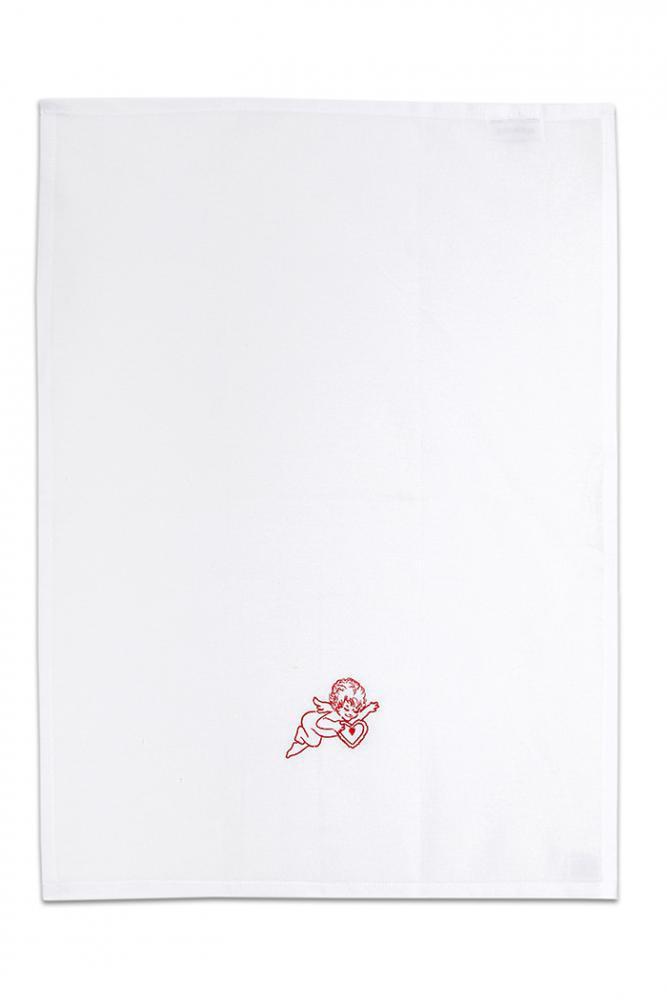 Bavlněná bílá utěrka s výšivkou 1ks - ANDĚL SRDCE ZELENÝ