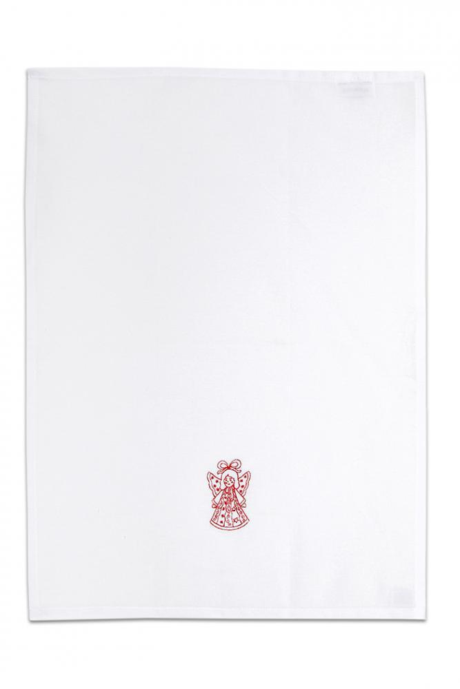 Bavlněná bílá utěrka s výšivkou 1ks - ANDĚLÍČEK ZELENÝ