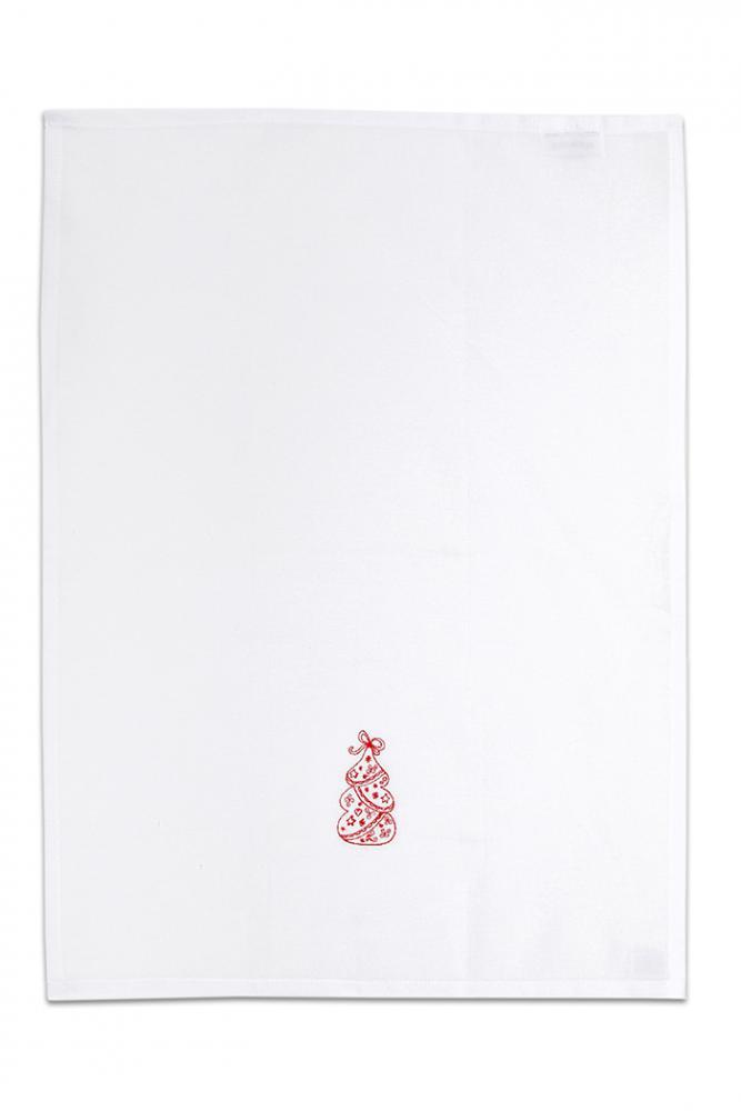 Bavlněná bílá utěrka s výšivkou 1ks - VÁNOČNÍ STROMEČEK ČERVENÝ