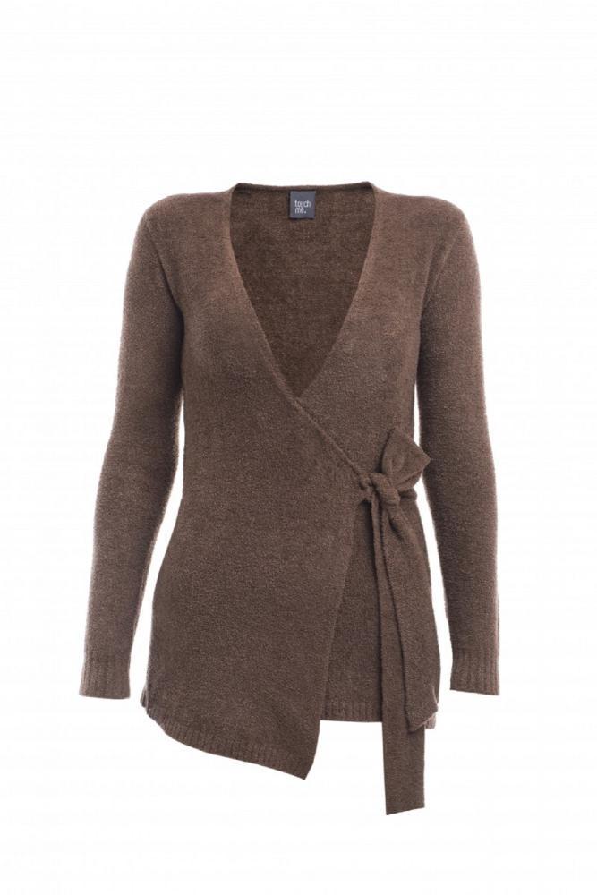 Dámský zavinovací svetr DENISA - KAŠTANOVĚ HNĚDÁ v. L