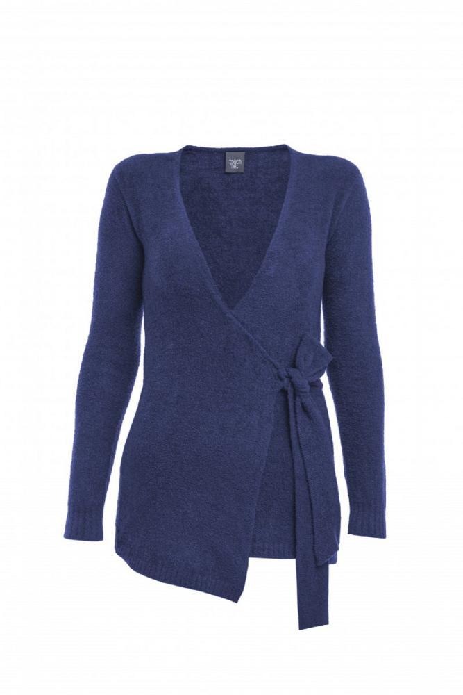 Dámský zavinovací svetr DENISA - TMAVĚ MODRÁ v. M
