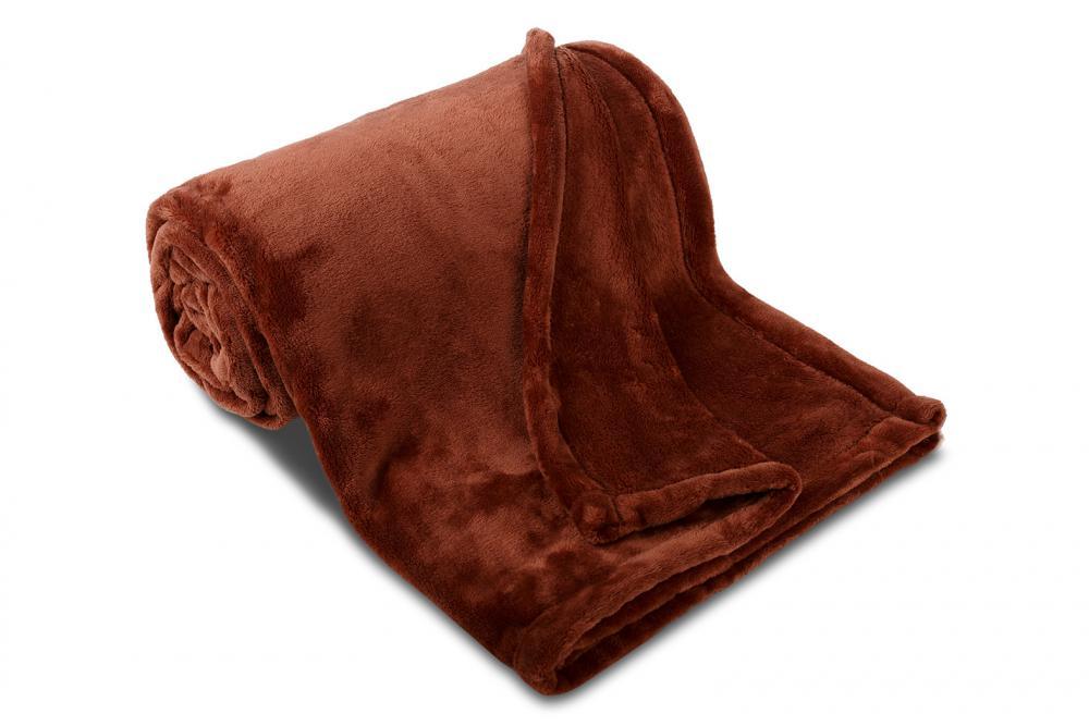 Deka mikroflanel SLEEP WELL®  - 150x200cm - TMAVĚ HNĚDÁ