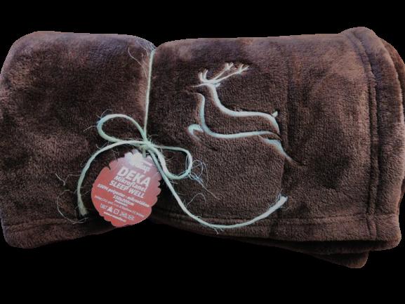 Deka z mikroflanelu SLEEP WELL® HNĚDÁ -150x200cm, výšivka PRO MYSLIVCE - JELEN