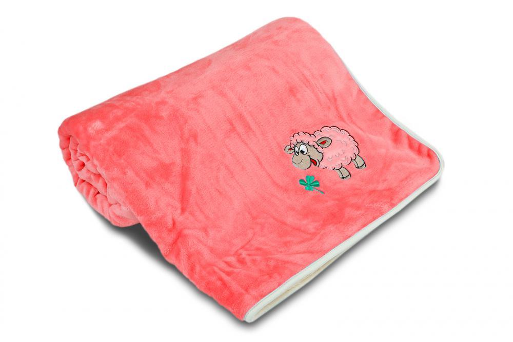 Dětská deka OVEČKA® 100x140 cm RŮŽOVÁ s výšivkou BÉŽOVÉ OVEČKY