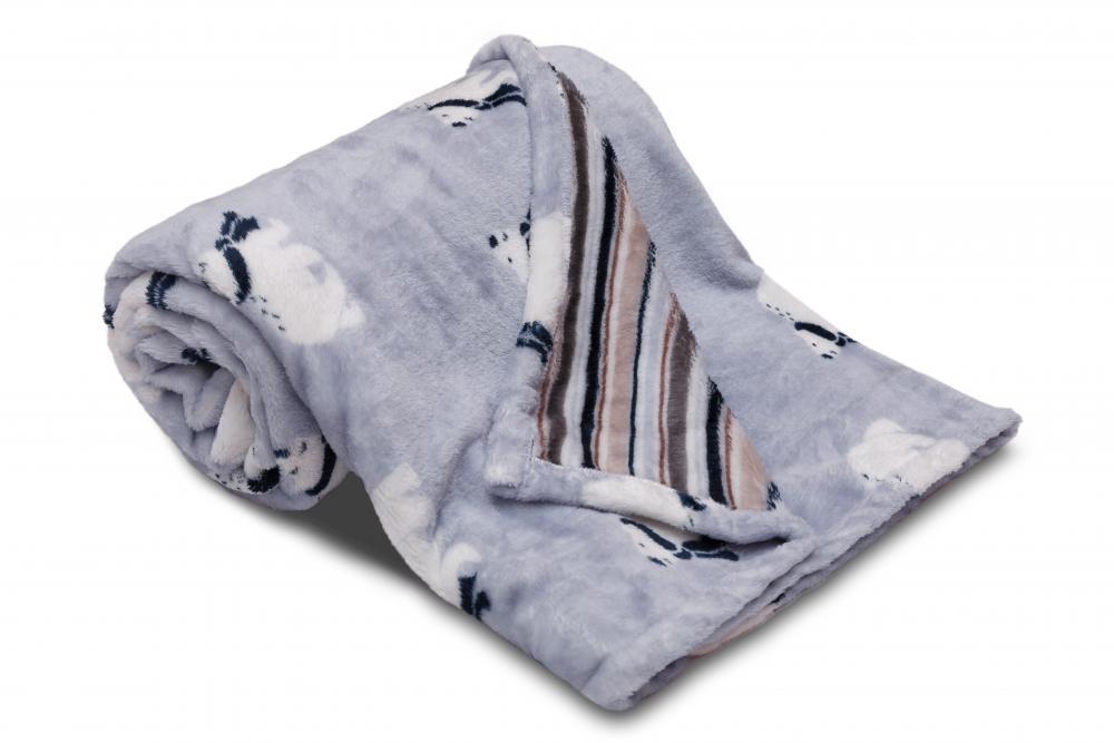 Dětská deka z mikroflanelu SLEEP WELL 100x150cm s potiskem MEDVĚDI A PRUHY MODRÁ
