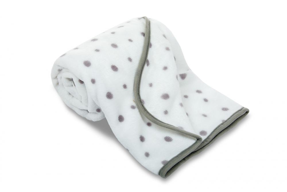 Dětská deka z mikrovlákno - šedý puntík
