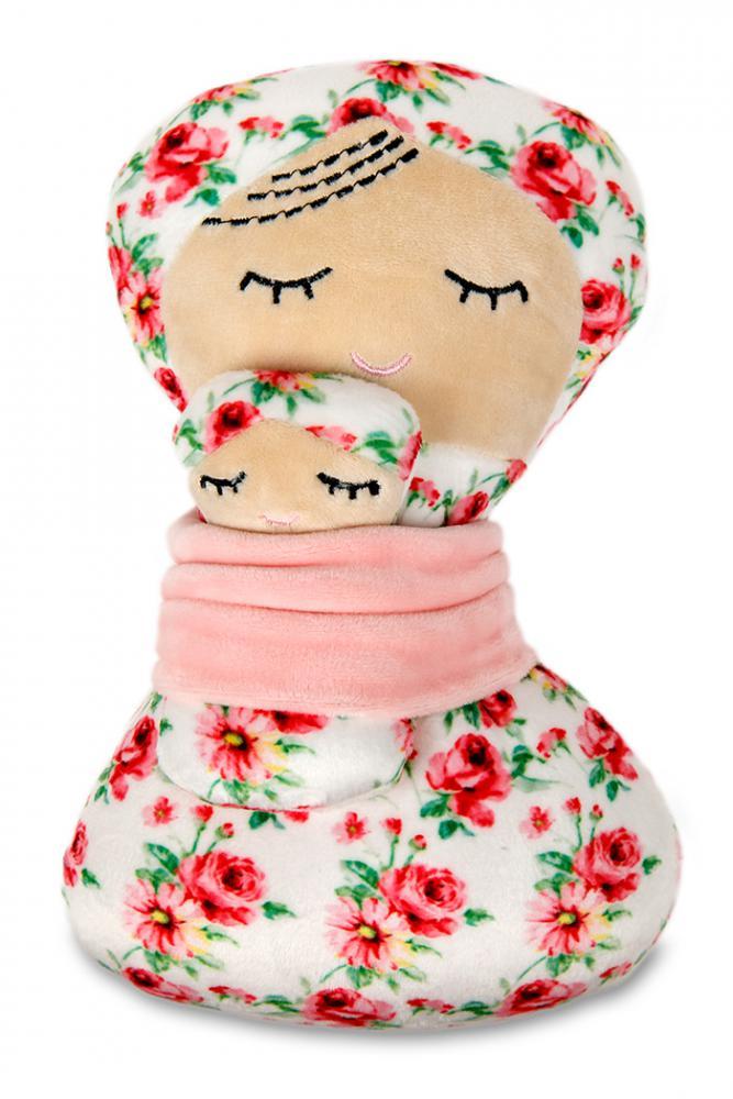 Plyšák-panenka z mikrospandexu MAMINKA S MIMINKEM V ŠÁTKU, 25 cm