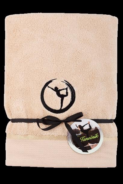"""Ručník béžový Jóga """"Tanečník"""" - z mikrobavlny SLEEP WELL® - 50x100 cm"""