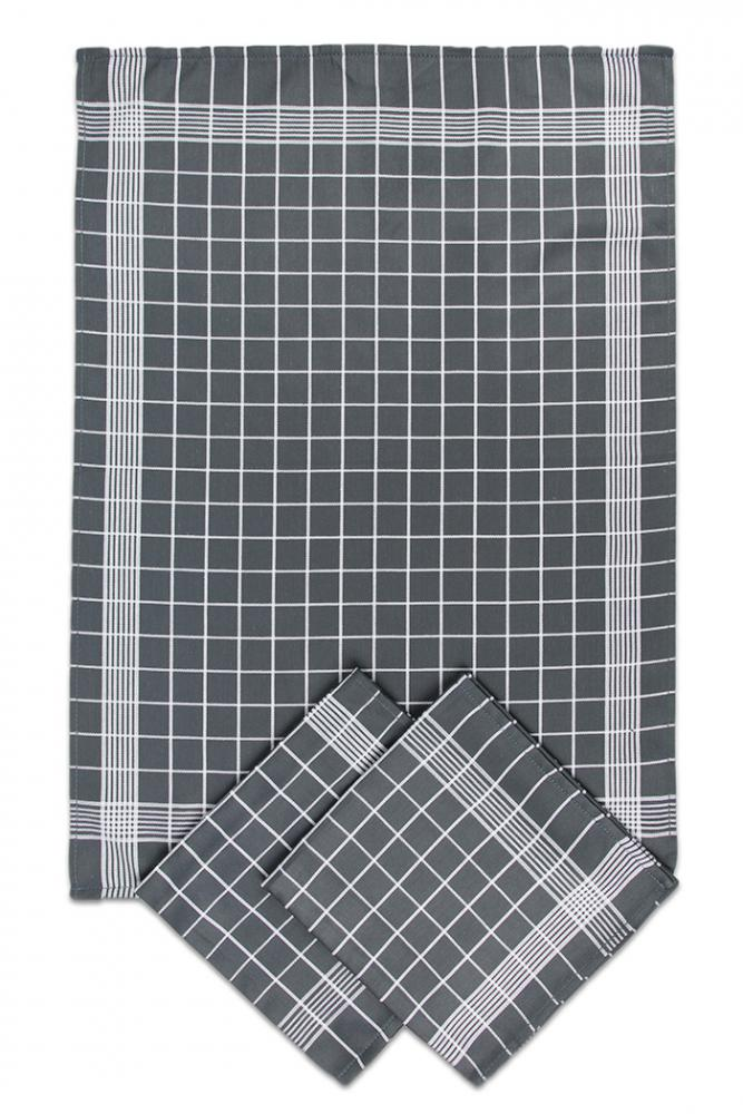 Svitap Utěrky bavlněné - Negativ tmavě/šedo - bílá 50x70 cm 3ks
