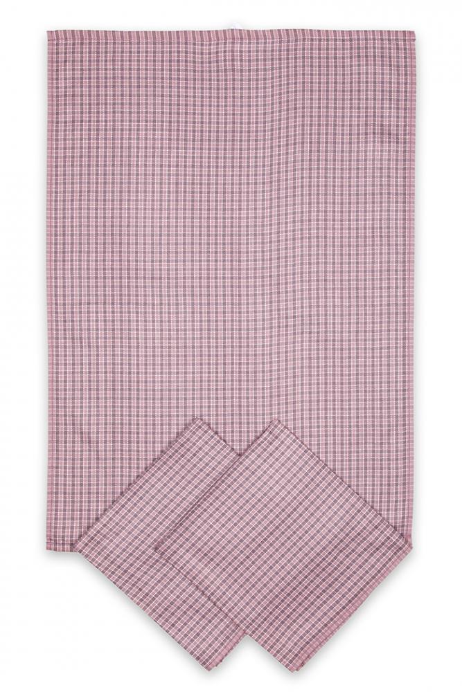Utěrky egyptská bavlna, žakárově tkaná MALÁ KOSTKA 50x70cm 3ks - STARORŮŽOVÁ