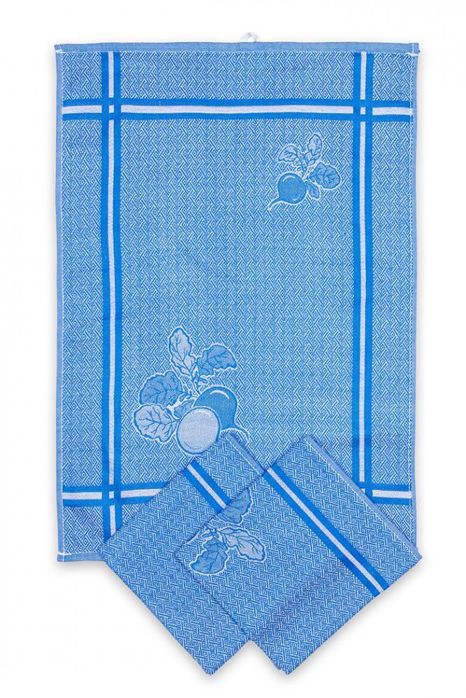 Svitap utěrky egyptská bavlna, žakárově tkaná ŘEDKVIČKY 50x70cm 3ks - MODRÁ