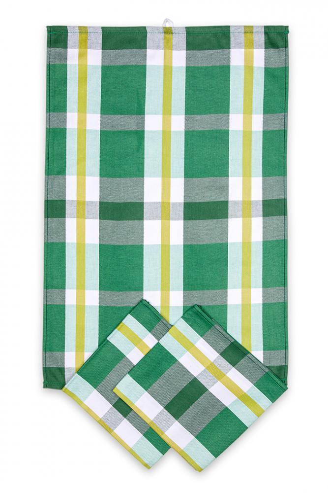 Svitap utěrky egyptská bavlna, žakárově tkaná KÁRO 50x70cm 3ks - ZELENOŽLUTÁ