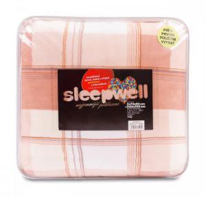 Povlečení z mikrovlákna SLEEP WELL® - prodloužené 70x90cm + 140x220cm - KAPUČÍNO KÁRO POSLEDNÍ 1ks