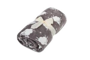 Dětská deka z mikroflanelu SLEEP WELL 100x150cm s OVEČKAMI - TMAVĚ ŠEDÁ