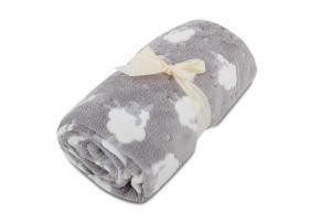 Dětská deka z mikroflanelu SLEEP WELL 75x100cm  s OVEČKAMI - SVĚTLE ŠEDÁ