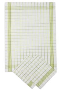 Náhled Utěrky bavlněné - Pozitiv bílo - zelená 50x70 cm 3ks