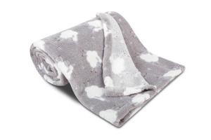 Náhled Dětská deka z mikroflanelu SLEEP WELL 75x100cm  s OVEČKAMI - SVĚTLE ŠEDÁ