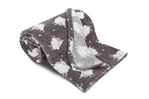 Náhled Dětská deka z mikroflanelu SLEEP WELL 75x100cm s OVEČKAMI - TMAVĚ ŠEDÁ