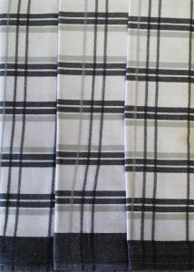 Utěrky z egyptské bavlny 50x70cm 3ks TRADIČNÍ KÁRO TMAVĚ ŠEDÁ