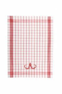 Náhled Svitap Utěrky Pozitiv s cibulákovým vzorem bílé s červenou výšivkou 50x70 cm 3ks