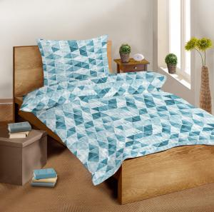 Náhled Krepové bavlněné povlečení SLEEP WELL 70x90 cm + 140x200 cm – AZURO