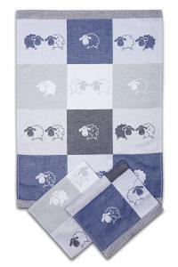 Náhled Svitap utěrky egyptská bavlna OVEČKY BAREVNÁ KOSTKA 50x70cm 3ks - MODRÁ
