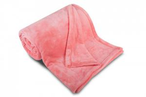Dětská deka mikroflanel 100x150 cm RŮŽOVÁ s výšivkou BÉŽOVÉ OVEČKY