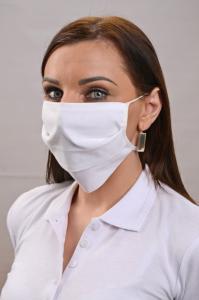 Náhled Rouška ze zdravotnické bavlny, dvouvrstvá - BÍLÁ  - balení 100 kusů