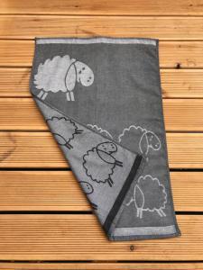 Utěrky egyptská bavlna, žakárově tkaná STÁDO OVEČEK 50x70cm 3ks - ŠEDÁ