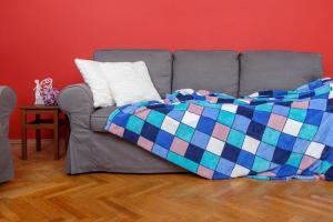 Deka z mikrovlákna SLEEP WELL® tisk 150x200cm - KOSTKA MODRÁ